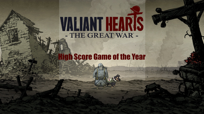 High Score's Game of the Year goes to Valiant Hearts. Click the picture to read our review and see why you need to play this game.